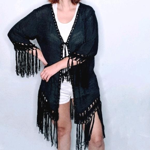 NWT~ Boho Crochet Medallion Fringe Kimono